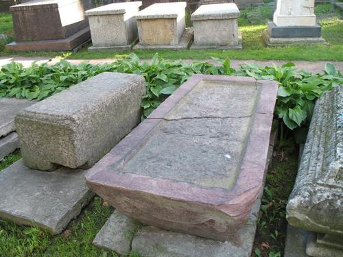 Общий вид надгробия. Налет водорослей в углублении памятника, горизонтальная поверхность