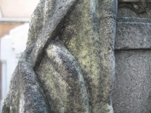 Выкрашивание поверхности мрамора с преобладанием колоний темноокрашенных грибов.