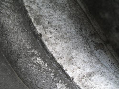 Грязевые наслоения, слоевища накипных лишайников, колонии темноокрашенных грибов на мраморе в нижней части полуколонны