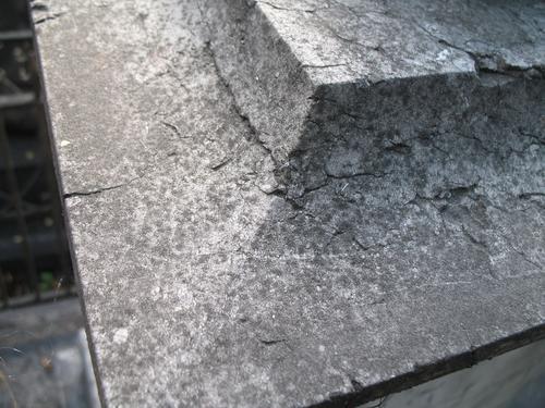 Колонии темноокрашенных грибов на поверхности мрамора. Присутствуют грязевые наслоения.
