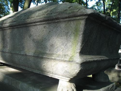 Налет водорослей на поверхности мраморного саркофага