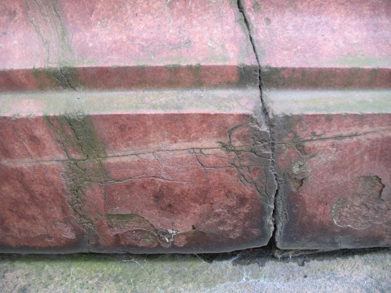 Фрагмент постамента из шокшинского кварцита (северная сторона, нижняя часть постамента,  вертикальная поверхность).  Видны: трещина, отслаивание  камня,грязевые наслоения, колонии темноокрашенных грибов, налет водорослей.