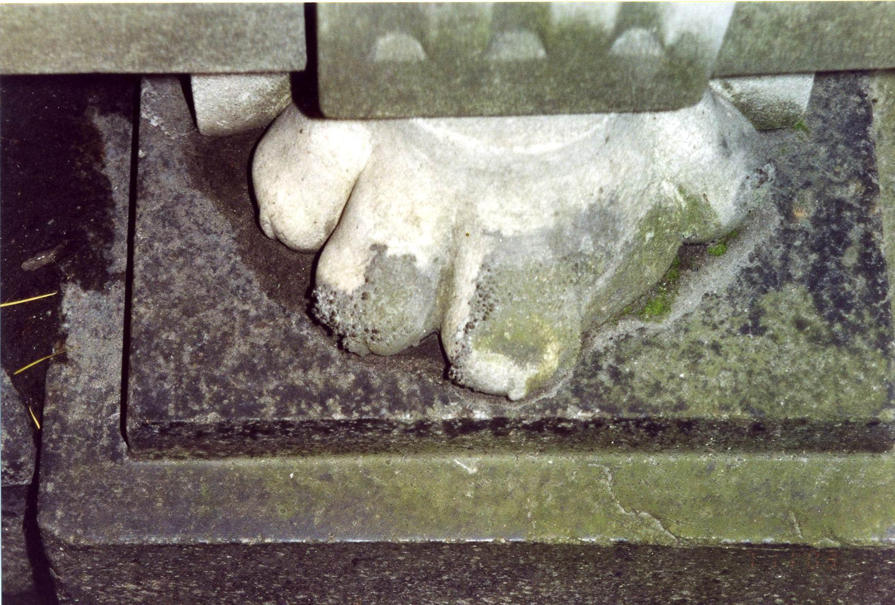 Ножка саркофага в форме лапы льва из белого, мелко-, среднезернистого мрамора. Юго-восточная сторона. Видно сильно проявленное отшелушивание, начало образования черной гипсовой корки. Фото ноября 2003 г.