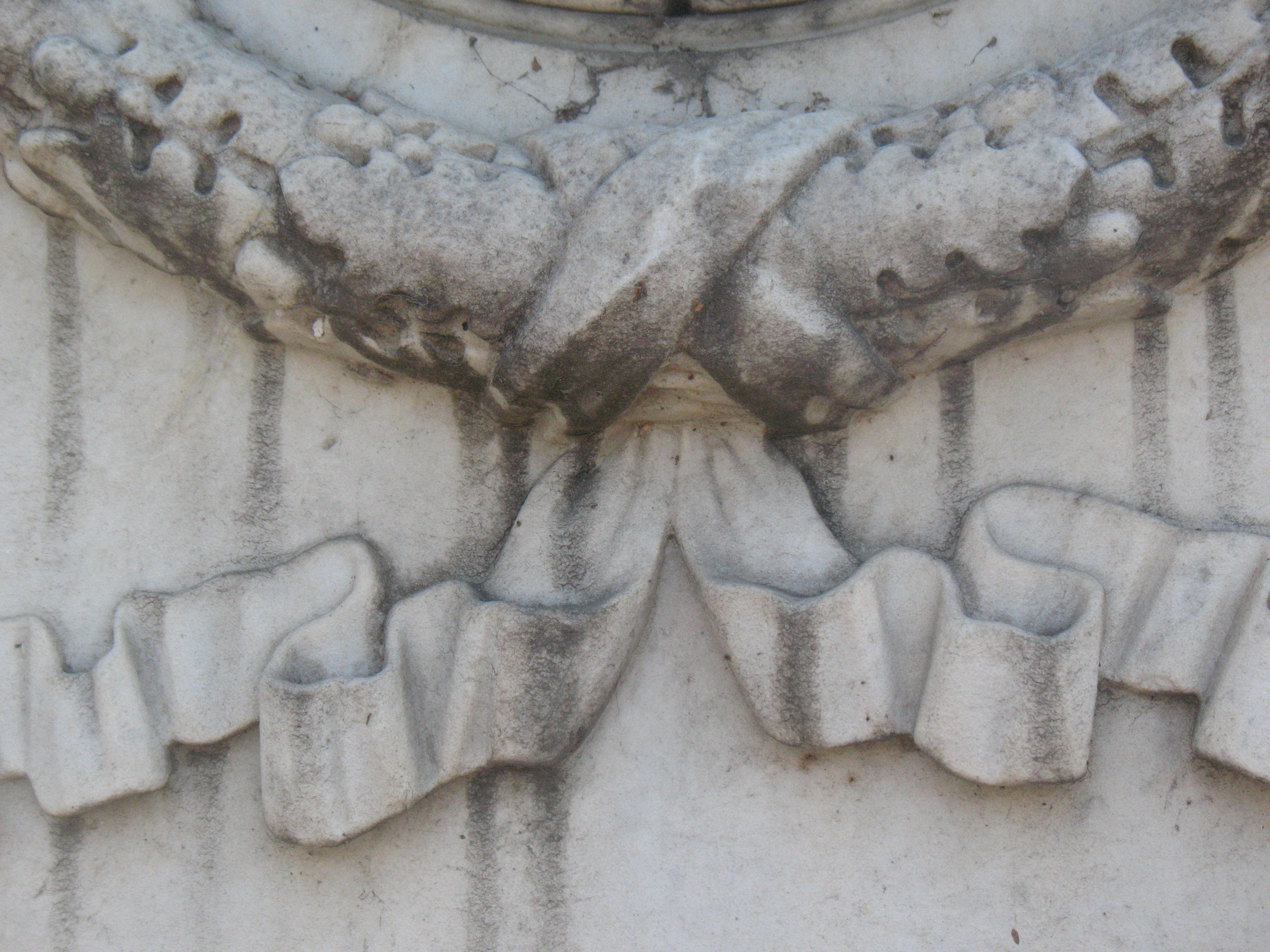 Грязевые натеки и грибы на белом мраморе