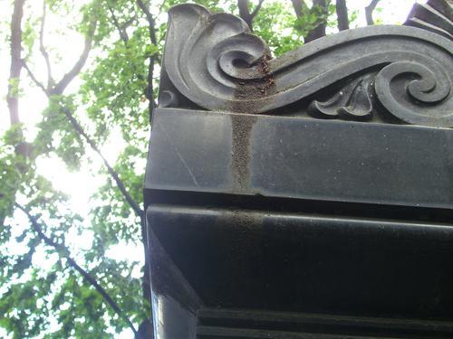 Грязевые наслоения напостаменте из черного габброида. Южная сторона постамента. Май 2011.