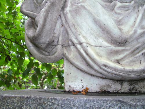 Грязевые наслоения и трещина на белом мраморе. Восточная сторона. Сентябрь 2011 г.