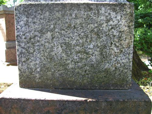 Биологические наслоения на основании из серго мелко-среднезернистого гранита. Западная сторона основания. Май 2011.