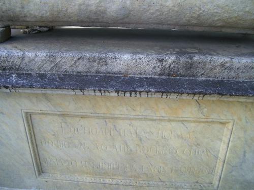 Грязевые наслоения и огрубление поверхности на постаменте из белого однородного мрамора. Западная сторона постамента. Май 2011.
