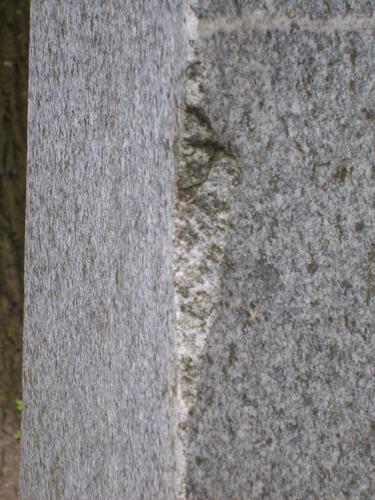 Скол неизвестного происхождения, биологический налет (водоросли, грибы) на сером граните.