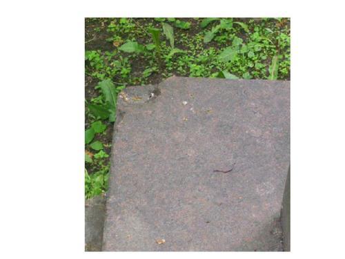 Скол неизвестного происхождения на углу фундамента из красного гранита. Южная сторона. Май 2010 г.