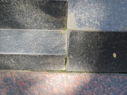 Атмосферные загрязнения и наслоения водорослей на стыке гранитных плит.