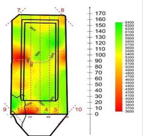 Плотностные неоднородности на памятнике Неизвестному из красного кварцита: а) трещины на поверхности, б) результаты ультразвукового прозвучивания.