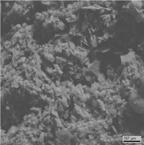Мелкие кристаллы гипса распределены неравномерно по поверхности (образец №5).