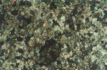 Фотография шлифа образца №1. Николи скрещены. Увеличение: × 80.  Мрамор белый мелкозернистый (размер зерен 0,1-0,25 мм), неравномернозернистый. Контуры зерен извилистые, форма зерен карбоната неправильная. Зерна доломита сравнительно хорошо окристаллизованны, имеют, как правило, зональное строение.