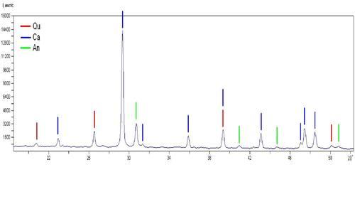Кальцит — очень много. Кварц — в существенном количестве. Анкерит (Ca ( Fe , Mg ) ( C O3 )2) — в существенном количестве.