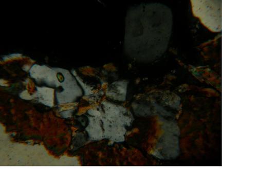 Гранатовый гнейсо гранит. Фотография шлифа. Николи скрещены. Увеличение x100.      Минеральный состав в данной породе представлен: плагиоклазом ( 50 — 55 %), биотитом ( 40 — 45 %), кальцитом ( <1%), единичными крупными зернами граната и небольшими зернами циркона. Кислый плагиоклаз имеет таблитчатой формы зерна, длина их составляет — 6 мм. Есть полисинтетические двойники. В крупных кристаллах плагиоклаза отчетливо проявляется калиешпатизация. Кварц, представлен изометричными кристаллами, размером от 0,05 мм до 2,5 мм. Чистый, но имеются включения слюды, а в крупных зернах включения плагиоклаза. Биотит, это пластинчатый кристалл образующий удлиненные зерна, размером от 0,1 до 0,8 мм. Резко плеохроирует от темно-коричневого до желтоватого цвета. Гранат, крупные корродированные кварцем и биотитом зерна. Изотропный. Циркон, единичные мелкие столбчатые кристаллы с высоким рельефом, имеющие высокое двупреломление и преломление. И единичные зерна кальцита неравномерно распределенные по породе. Текстура породы пятнистая, а структура неравномерно зернистая (преобладает аллотриоморфнозернистая и присутствует гипидиоморфнозернистая).
