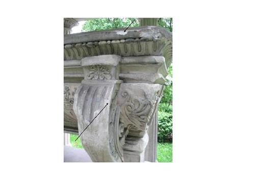 Образец №1 - с верхней части саркофага. Северная сторона. Образец №2 - с ножки саркофага. Северная сторона.