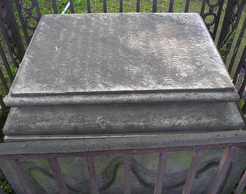 Фрагмент надгробной плиты. Видно развитие мха по контуру плиты. Фото июля 2004 г.