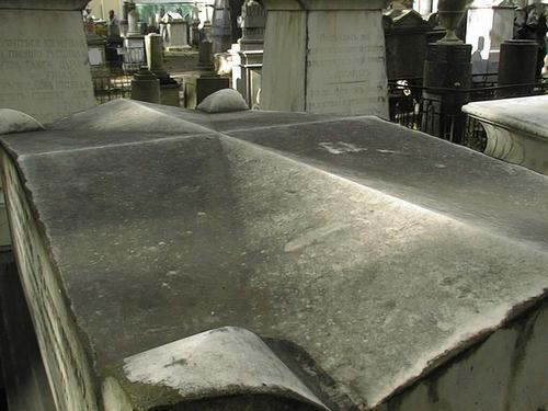 Крышка саркофага. Виден сплошной налет из атмосферных грязевых отложений и налетов биологического происхождения. Фото июля 2002 г.