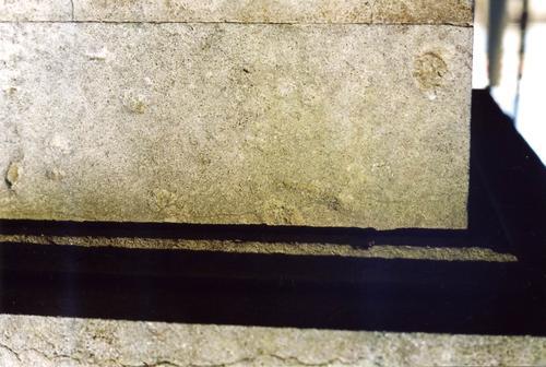 Фрагмент постамента. Видны колонии водорослей. Фото ноября 2003 г.