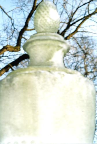 Фрагмент вазы-светильника. Видно отшелушивание, колонии водорослей. Фото ноября 2003 г.