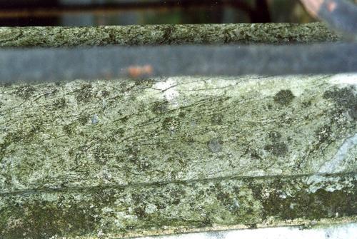 Нижняя часть постамента из серого, полосчатого, узорчатого, мелко-, среднезернистого мрамора. Видны микротрещины, налеты биологического происхождения. Фото ноября 2003 г.