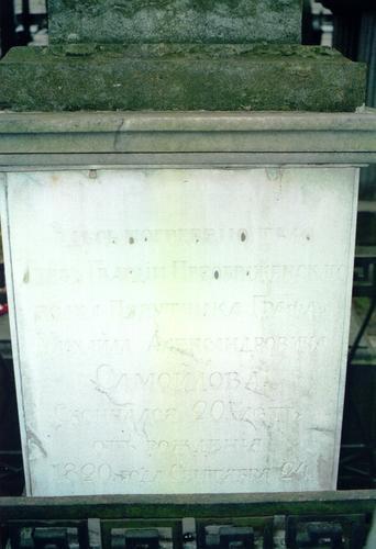 Южная сторона мемориальной плиты. Видны натеки, биологический налет. Фото ноября 2003 г.