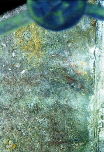 Южная сторона подставки для полуколонны из путиловского известняка. Видны углубления и впадины из-за выветривания. Фото ноября 2003 г.